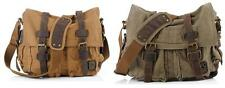 1038 Men Women Canvas Shoulder  Military Messenger  Leather cotton School Bag