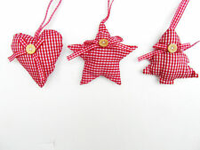 NEW RED & WHITE GINGHAM FABRIC PADDED CHRISTMAS DECORATIONS - 3 SHAPES