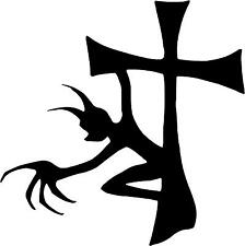 "Demon Devil Cross Decal 3.75""x3.75"" choose color!  vinyl sticker"