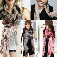 New Women Ladies Girl Voile Ink Flower Cotton Long Shawl Scarf Wrap Begonia Soft