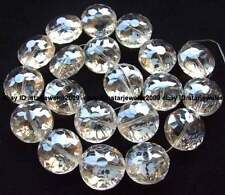 "Beautiful glass Quartz roundel 11x18x18mm faceted Beads 13"" beautiful"