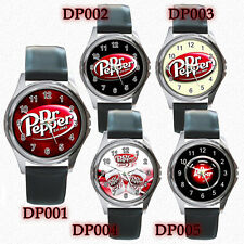 NEW* Optional Design DR PEPPER Soft Drinks Round Metal WATCH Leatherband