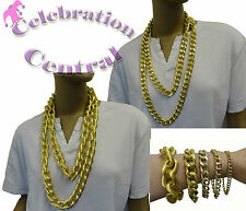 GOLD BLING NECKLACE BRACELET CHAIN RAPPER GANGSTA PIMP JEWELLERY