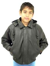 KIDS BOMBER LEATHER WAIST JACKET WITH REMOVABLE HOOD (K15)