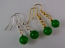 Earrings Dyed Green Jade 8mm Beads CHOICE of Silver or Gold Tone Hooks