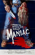 MANIAC Movie Poster Horror Slasher Gore