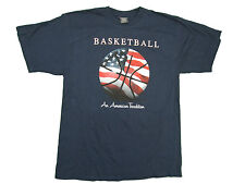 BASKETBALL AN AMERICAN TRADITION ADULT NAVY BLUE SHORT SLEEVE T-SHIRT NEW