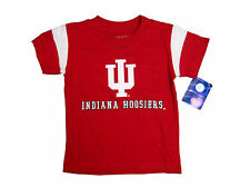 INDIANA HOOSIERS KIDS RED WITH WHITE SHOULDER STRIPES T-SHIRT NEW