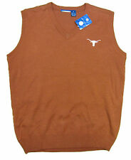 TEXAS LONGHORNS ADULT ORANGE EMBROIDERED SWEATER VEST NEW