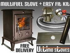 Ultimo FORTIS Multi-Fuel Wood Burning Stove 8kW Complete Liner Kit Package
