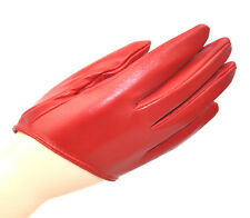 Fashion 5 Fingers Half Palm Leather Gloves Red M L