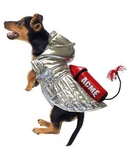 """ACME Rocket Dog Costume, silver with large red rocket & fuse. Sizes 8"""" - 20"""""""