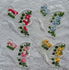 """4 Pcs Butterfly-Shaped Embroidery Flowers-2""""(W)-E011"""