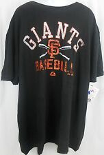 San Francisco Giants MLB Black Majestic Faded Tee Shirt Big & Tall Sizes