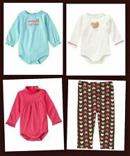 Gymboree NWT 3-6 Months, Shirts and Leggings, Pink, Aqua, Brown, Hearts, Spring.