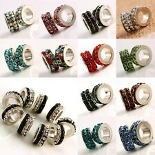 Wholesale Crystal Rondelle Wheel Large Hole Spacer Beads Fit EP Charms Bracelet