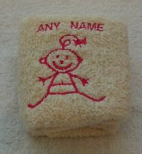 Personalised Baby Girl Face Cloth Flannel Any Name 100% Cotton
