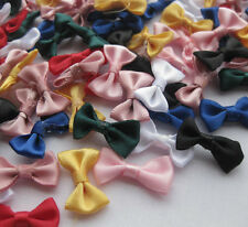 Small Satin Ribbon Bows Flower Appliques sew Craft Kid's cloth Lots Upick E42