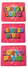 Girls Name Bedroom Door Plaque Sign Pink Holographic 3D Design 21 Names F-L