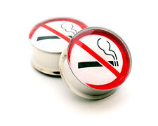 Pair of No Smoking Picture Plugs gauges Choose Size new