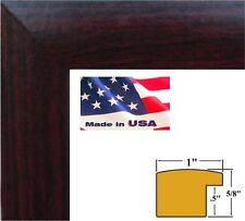 "1"" Nugget Cherry Maroon Solid Poplar Hardwood picture poster frame-6 inch wide"