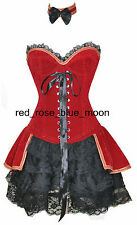 the red velvet material pressed with flora lace up corset bustier with skirt