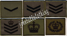Commando Rank Badges in Olive with Black Embroidery