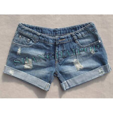 Ladies Denim Jeans Shorts Turnup Blue Hot Pants Ripped Women New UK Size 10-16
