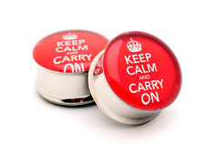 Pair of Keep Calm and Carry On Picture Plugs gauges Choose Size new