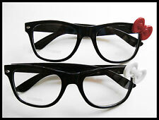 BLACK HELLO KITTY BOW STYLE CLEAR LENS EYEGLASSES RED OR WHITE BOW