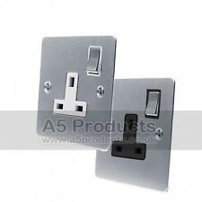 13 Amp Wall Plug Socket Single 1 Gang in Brushed Satin Matt Chrome Flat Style