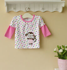 Baby Toddler Long-Sleeved Top T-Shirt White W/ Monkey ~~ Size 4 5 6