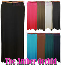 NEW LADIES LONG GYPSY PLEATED MAXI WOMENS PLAIN BELTED SKIRT SIZES 8-14