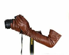 """60cm(23.6"""")long real leather evening/opera gloves*red brown S M L XL custom made"""