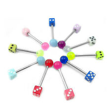 Stainless Steel Tongue Barbell Ring with UV Reflective Ball-Dice Assorted Colors