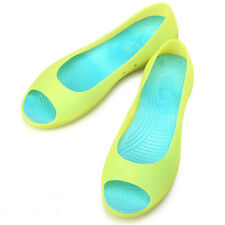 New Lovely Womens Jelly Peep Toe Ballet Flats Shoes Green Blue