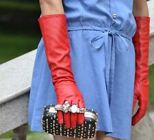 "40cm(15.7"")long plain leather evening/eblow gloves*red(S M L XL custom made)"