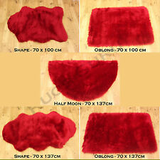 HIGH QUALITY PLAIN FLUFFY WASHABLE SOFT FAUX FUR RED COLOUR SHEEPSKIN RUGS