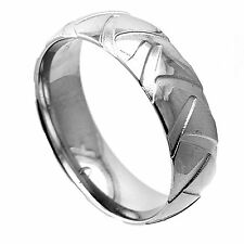 Slightly Dome Pure Titanium Polished Finish Wedding Band Ring with Etched Design