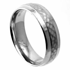 Slightly Domed Hammered Finish Center Titanium Wedding Ring with Polished Etches