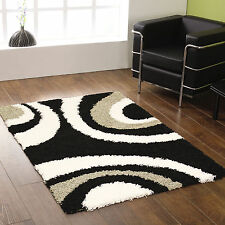 SMALL - EXTRA LARGE THICK 5CM PILE BLACK GREY IVORY WHITE CREAM SWIRL SHAGGY RUG