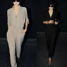 2 color Womens dress suit cool Chiffon Jumpsuits H-Waist Long Sleeve XS S M L