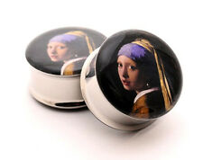 Pair of Vermeer's Girl with a Pearl Earring Picture Plugs gauges Choose Size new