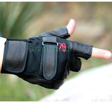 Man's Leather Driving Motorcycle Biker Fingerless Sports Gloves Multipurpose New