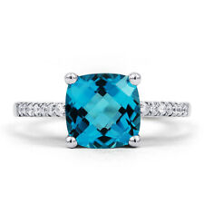 Natural 9K White Gold Blue Topaz and Diamond Engagement Ring 1.5mm H SI