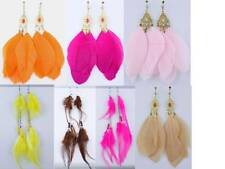 1 PAIR SPRING CLIP-ON Multiple-Colored FEATHER+BEAD DANGLE EARRINGS