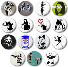 "BANKSY STYLE (Various Designs) 1"" / 25mm Button Badge - Graffiti Street Bristol"