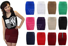 Ladies Womens Fitted Bodycon Mini Stretch Skirt Short Length Zip Back Ribbed