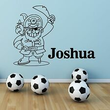 Personalised Name Pirate boys Bedroom Wall Art Stickers Decals Transfers Murals