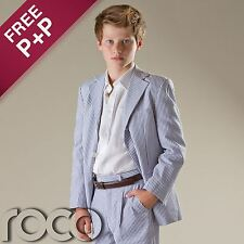 Boys Blue & White Striped 2pc Cotton Pageboy Formal Communion Prom Wedding Suit